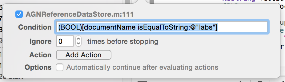 Xcode Breakpoint Condition