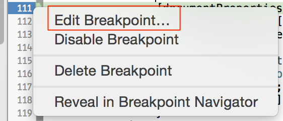 Edit Breakpoint in Xcode